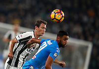Calcio, Serie A: Juventus Stadium. Torino, Juventus Stadium, 29 ottobre 2016.<br /> Juventus&rsquo; Stephan Lichsteiner, left, and Napoli's Faouzi Ghoulam fight for the ball during the Italian Serie A football match between Juventus and Napoli at Turin's Juventus Stadium, 29 October 2016. Juventus won 2-1.<br /> UPDATE IMAGES PRESS/Isabella Bonotto