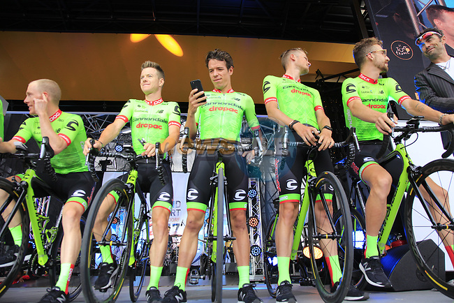 Cannondale-Drapac team on stage at the Team Presentation in Burgplatz Dusseldorf before the 104th edition of the Tour de France 2017, Dusseldorf, Germany. 29th June 2017.<br /> Picture: Eoin Clarke | Cyclefile<br /> <br /> <br /> All photos usage must carry mandatory copyright credit (&copy; Cyclefile | Eoin Clarke)