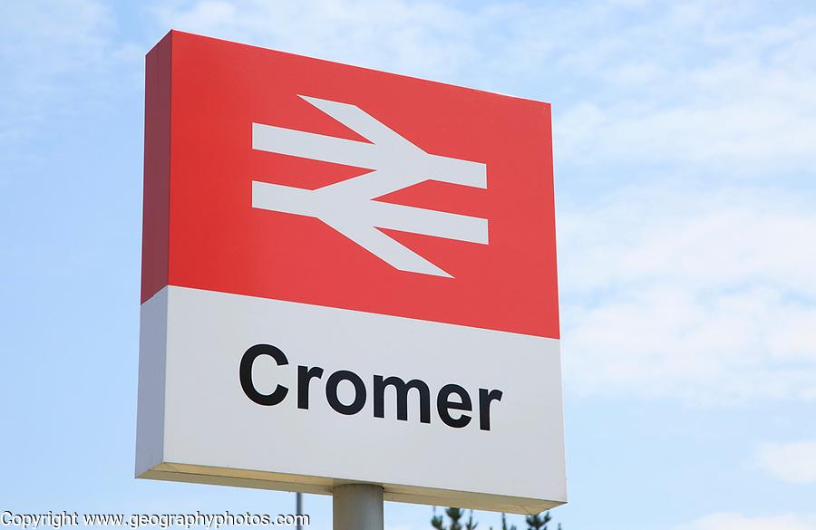 British Rail double arrow station sign, Cromer, Norfolk, England, UK