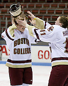 Shannon Webster (Boston College - 12), Colleen Harris (Boston College - 11) - The Boston College Eagles defeated the Harvard University Crimson 1-0 to win the Beanpot on Tuesday, February 10, 2009, at Matthews Arena in Boston, Massachusetts.