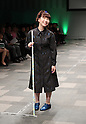 "October 19, 2016, Tokyo, Japan - A blind model Masami Matsuda displays creation of Japanese designer Takafumi Tsuruta at the ""tenbo"" 2017 spring/summer collection as a part of Japan Fashion Week in Tokyo on Wednesday, October 19, 2016.   (Photo by Yoshio Tsunoda/AFLO) LWX -ytd-"