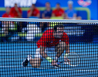 7th January 2020; RAC Arena, Perth, Western Australia; ATP Cup Australia, Perth, Day 5; Russia versus Norway; Teymuraz Gabashvili of Russia waits at the net during the doubles against Norway - Editorial Use