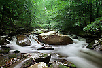 Another angle of a mountain stream flowing through the Great Smoky Mountains National Park