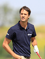 Leonardo Motta (ITA) on the 1st tee during Round 1 of the Challenge de Madrid, a Challenge  Tour event in El Encin Golf Club, Madrid on Wednesday 22nd April 2015.<br /> Picture:  Thos Caffrey / www.golffile.ie