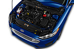 Car Stock 2020 Ford Fusion SE 4 Door Sedan Engine  high angle detail view