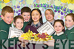 NUTRITIOUS: Pupils from Scoil Cothailhe Slainte, Killarney, enjoying the Health promotion schools drive in association with the HSE last Thursday. L-r: Jordan OCadhla, Amano Miura, Orla Ni Raghallaigh agus Sinead Ni Uigin. Back row l-r: Gary O Murchu, Niall OConchuir agus Valerie Aghas..