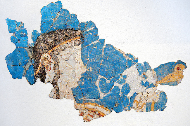 Mycenaean Fresco wall painting  from the Mycenae , Greece. 14th - 13th Century BC. Athens Archaeological Museum.