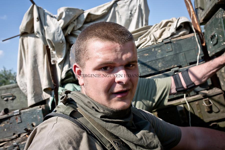 UKRAINE, Pisky: Daniel, 19 years old is in the 93 brigade. Before he was fighting with the volunteer battalion called Karpatskasich that has now joined the official Ukrainian army. But since one month, Daniel can't stand being a soldier &quot;One month ago, I've lost a friend in this war, since then something got wrong in my head&quot; he says.<br /> <br /> UKRAINE, Pisky: Daniel, 19 ans est dans la brigade 93. Avant, il se battait avec le bataillon de volontaires Karpatska qui a maintenant rejoint l'arm&eacute;e officielle ukrainienne. Mais depuis un mois, Daniel ne peut plus supporter d'&ecirc;tre un soldat &quot;Il y a un mois, j'ai perdu un ami dans cette guerre, depuis lors, quelque chose va mal dans ma t&ecirc;te&quot;, dit-il.