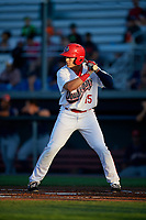 Auburn Doubledays right fielder Kameron Esthay (15) at bat during a game against the Connecticut Tigers on August 8, 2017 at Falcon Park in Auburn, New York.  Auburn defeated Connecticut 7-4.  (Mike Janes/Four Seam Images)