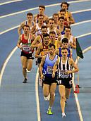 10th February 2019, Arena Birmingham, Birmingham, England; Spar British Athletics Indoor Championships; Adam Craig leads in the first lap of the men's 3000m final during Day Two of the Spar Indoor Athletics Championships at Birmingham Arena