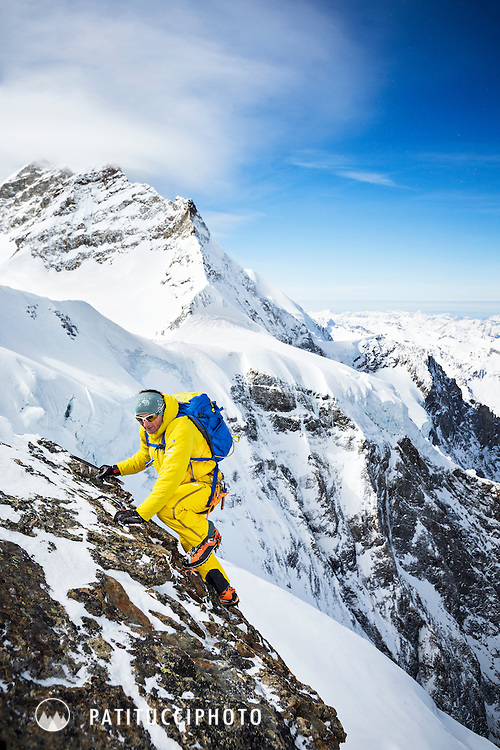 Ueli Steck training for climbing, testing new gear and moving quickly on the Mönch, a 4000 meter peak in Switzerland's Berner Oberland and accessible from the Jungfraujoch
