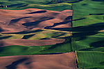 The rolling hills of the Palouse region of Eastern Washington, viewed from Steptoe Butte at sunset.