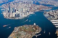 Aerial view of Manhattan, New York, New York.