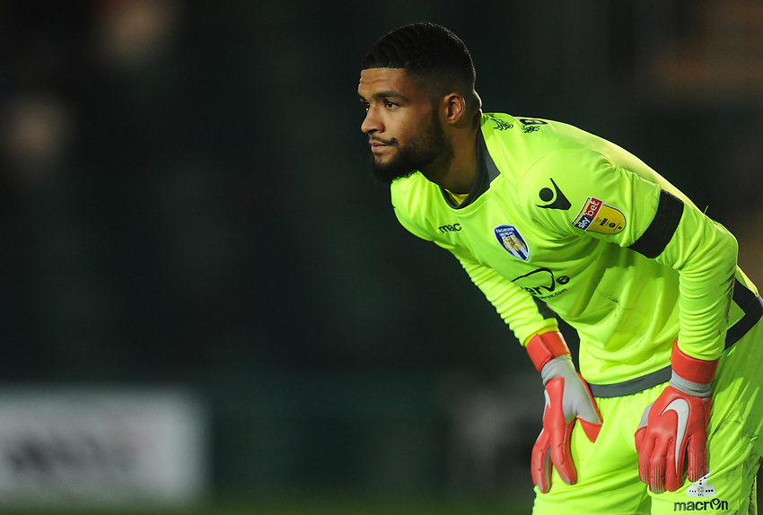 Colchester United's Dillon Barnes<br /> <br /> Photographer Kevin Barnes/CameraSport<br /> <br /> The EFL Sky Bet League Two - Newport County v Colchester United - Saturday 17th November 2018 - Rodney Parade - Newport<br /> <br /> World Copyright © 2018 CameraSport. All rights reserved. 43 Linden Ave. Countesthorpe. Leicester. England. LE8 5PG - Tel: +44 (0) 116 277 4147 - admin@camerasport.com - www.camerasport.com