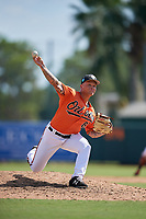 Baltimore Orioles pitcher J.J. Montgomery (87) delivers a pitch during a Florida Instructional League game against the Philadelphia Phillies on October 4, 2018 at Ed Smith Stadium in Sarasota, Florida.  (Mike Janes/Four Seam Images)
