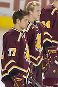 Matt Frank, Adam Miller - The Boston College Eagles and Ferris State Bulldogs tied at 3 in the opening game of the Denver Cup on Friday, December 30, 2005, at Magness Arena in Denver, Colorado.  Boston College won the shootout to determine which team would advance to the Final.