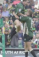 10/04/2002 - Powergen National Cup Final - Twickenham.London Irish vs Northampton..Michael Horak right celebrates his second half try,. with Justin Bishop.