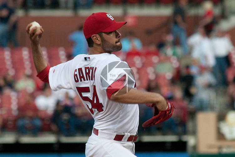 06 May 2011                              St. Louis Cardinals starting pitcher Jaime Garcia (54) allowed only two hits as he threw the entire game. The St. Louis Cardinals defeated the Milwaukee Brewers 6-0 on Friday May 6, 2011 in the first game of a three-game series at Busch Stadium in downtown St. Louis.