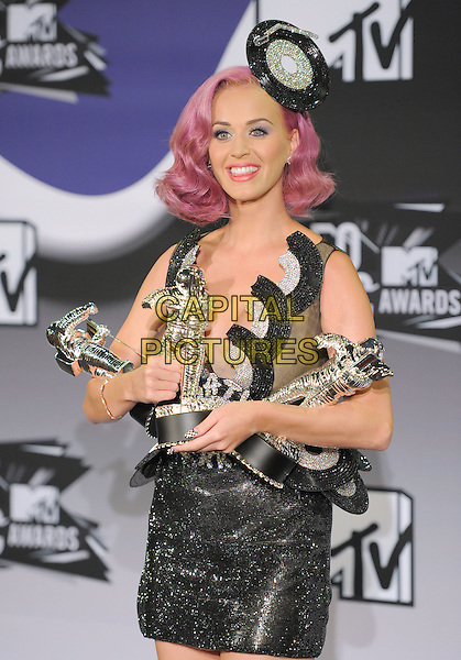 Katy Perry.28th Annual MTV Video Music Awards held at Nokia Theatre L.A. Live. Los Angeles, California, USA..28th August 2011.half length silver grey gray dress sparkly record lp hat pink dyed hair award trophy trophies winner smiling                          .CAP/RKE/DVS.©DVS/RockinExposures/Capital Pictures.