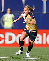 Christie Rampone readies to defend. USA defeated Brazil 2-0 at Giants Stadium on Sunday, June 23, 2007.