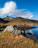 Autumn mountain landscape at late Urtjønna, Vestvågøy, Lofoten Islands, Norway
