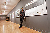 """Pictured: Jim Sclavunos. Wednesday 03 April 2019<br /> Re: Press call before the opening of Stefanos Rokos' exhibition """"No More Shall We Part"""" with paintings based on the 2001 Nick Cave and The Bad Seeds album with the same title, Benaki Museum, Athens, Greece."""