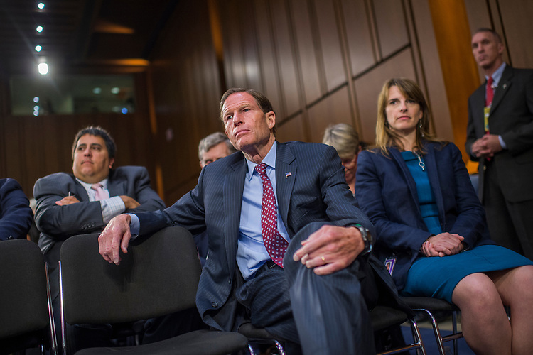 UNITED STATES - JUNE 8: Sen. Richard Blumenthal, D-Conn., attends a Senate Select Intelligence Committee hearing about Russian interference in the 2016 election featuring testimony by former FBI Director James Comey on June 8, 2017. (Photo By Tom Williams/CQ Roll Call)