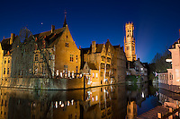 Bruges, Belgium City Canal with Bell Tower