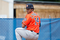 Greeneville Astros pitcher Joselo Pinales (14) throws a bullpen session prior to the game against the Kingsport Mets at Hunter Wright Stadium on July 7, 2015 in Kingsport, Tennessee.  The Mets defeated the Astros 6-4. (Brian Westerholt/Four Seam Images)