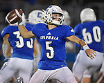 Columbia quarterback Nic Horner passes. Columbia played Mascoutah on Saturday August 31, 2019 in a football game that was never started on Friday night due to bad storms.<br /> Tim Vizer/Special to STLhighschoolsports.com