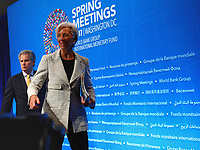 Washington, DC - April 20, 2017: International Monetary Fund Managing Director Christine Lagarde exits the press area after holding a press conference during the annual Spring Meetings of the IMF/World Bank Group at the IMF headquarters in the District of Columbia April 20, 2017.  (Photo by Don Baxter/Media Images International)