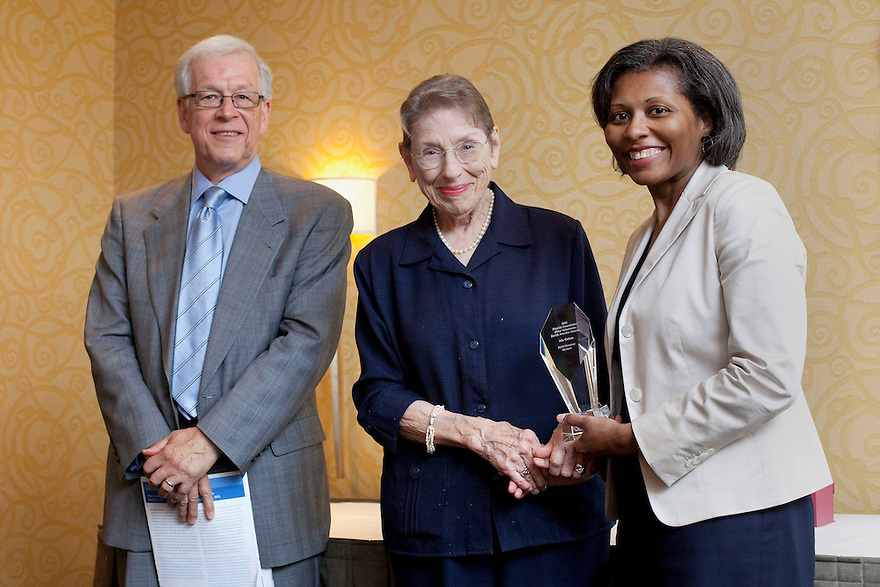 Bob Sessler, left, Gold honoree LaVerne Gordon, middle, and April Hawkins, MetLife Foundation, right, at the Older Volunteers Enrich America Awards at the Double Tree Hotel in Washington, DC on Friday, June 17, 2011.