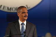 May 13, 2013  (Washington, DC)  U.S Attorney General Eric H. Holder, Jr. speaks at the 25th Annual Candlelight Vigil held at the National Law Enforcement Officers Memorial in the District of Columbia. The event is part of National Police Week. (Photo by Don Baxter/Media Images International)