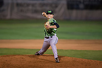Eugene Emeralds relief pitcher Riley McCauley (23) delivers a pitch during a Northwest League game against the Salem-Keizer Volcanoes at Volcanoes Stadium on August 31, 2018 in Keizer, Oregon. The Eugene Emeralds defeated the Salem-Keizer Volcanoes by a score of 7-3. (Zachary Lucy/Four Seam Images)