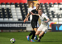 SWANSEA, WALES - MARCH 25: Oli McBurnie of Swansea City chases down the loose ball during the Premier League International Cup Semi Final match between Swansea City and Porto at The Liberty Stadium on March 25, 2017 in Swansea, Wales. (Photo by Athena Pictures)