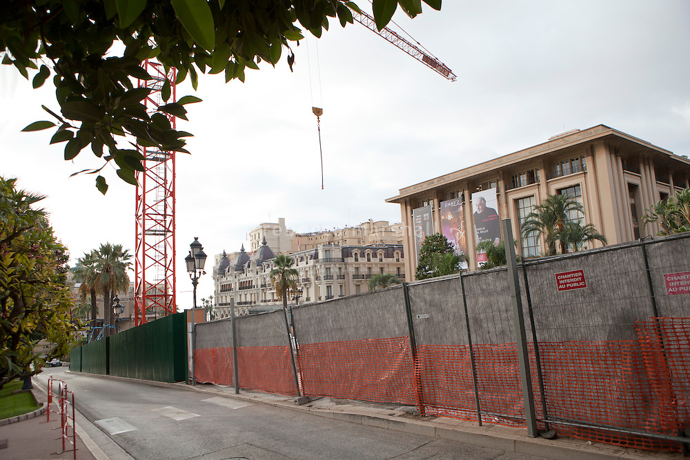 Barriers block construction work from view in front of the soon-to-be-demolished Sporting d'Hiver (right) on Casino Square, which is part of the urban development project to replace the building with a new commercial space, Monte Carlo, Monaco, 18 October 2013