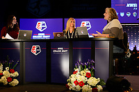 Philadelphia, PA - Thursday January 18, 2018: Marisa Pilla, Aly Wagner, Jen Cooper  during the 2018 NWSL College Draft at the Pennsylvania Convention Center.