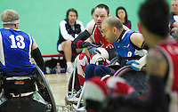 15 AUG 2011 - LEEDS, GBR - Canada's Fabien Lavoie (centre) prepares to pass during the wheelchair rugby exhibition match against Great Britain (PHOTO (C) NIGEL FARROW)