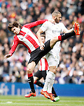 Real Madrid's Karim Benzema (r) and Athletic de Bilbao's Ander Iturraspe during La Liga match. February 13,2016. (ALTERPHOTOS/Acero)