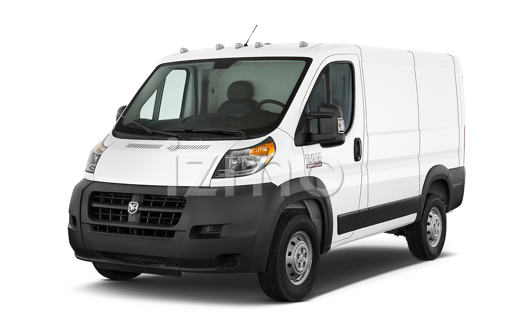 2014 Ram ProMaster 1500 118 WB Low Roof 2 Door Cargo Van angular front stock photos of front three quarter view