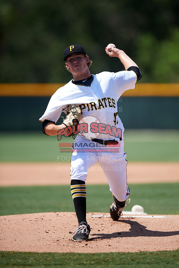 GCL Pirates starting pitcher Braeden Ogle (43) during a game against the GCL Braves on August 10, 2016 at Pirate City in Bradenton, Florida.  GCL Braves defeated the GCL Pirates 5-1.  (Mike Janes/Four Seam Images)