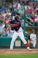 Rochester Red Wings shortstop Gregorio Petit (4) at bat during a game against the Pawtucket Red Sox on July 4, 2018 at Frontier Field in Rochester, New York.  Pawtucket defeated Rochester 6-5.  (Mike Janes/Four Seam Images)