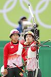 (L-R) Saori Nagamine, Kaori Kawanaka (JPN),<br /> AUGUST 7 2016 - Archery : <br /> Women's teaml final Round Quarter finals<br /> at Sambodromo <br /> during the Rio 2016 Olympic Games in Rio de Janeiro, Brazil. <br /> (Photo by Yusuke Nakanishi/AFLO SPORT)
