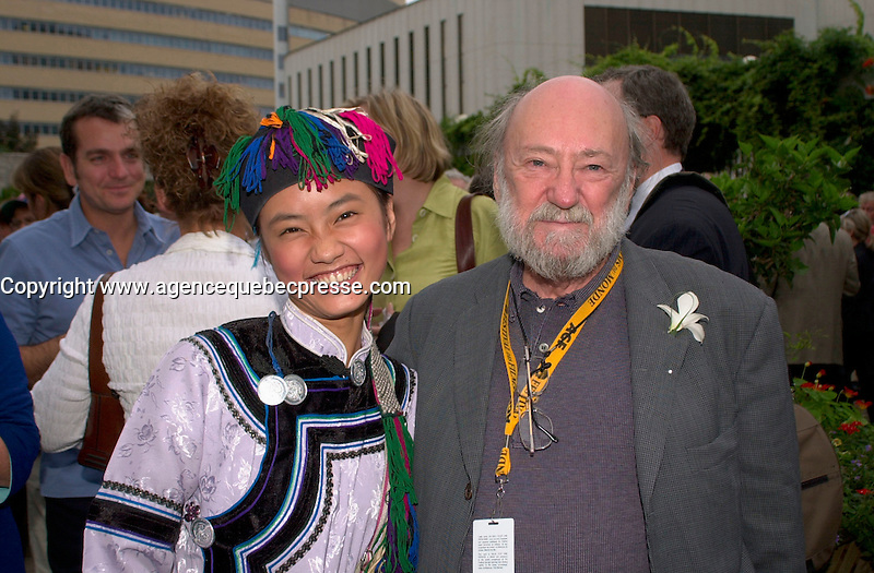 sept 3,  2003, Montreal, Quebec, Canada<br /> <br /> Chinese actress Li Min, from the movie WHEN RUOMA WAS 17, Presented in the Official Competition of the Festival (L) pose with KJury Member Rock Demers<br /> <br /> The Festival runs from August 27th to september 7th, 2003<br /> <br /> <br /> Mandatory Credit: Photo by Pierre Roussel- Images Distribution. (&copy;) Copyright 2003 by Pierre Roussel <br /> <br /> All Photos are on www.photoreflect.com, filed by date and events. For private and media sales