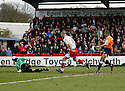 Mark Tyler of Luton saves well from Chris Beardsley of Stevenage Borough during the  Blue Square Premier match between Stevenage Borough and Luton Town at the Lamex Stadium, Broadhall Way, Stevenage on Saturday 3rd April, 2010..© Kevin Coleman 2010 .