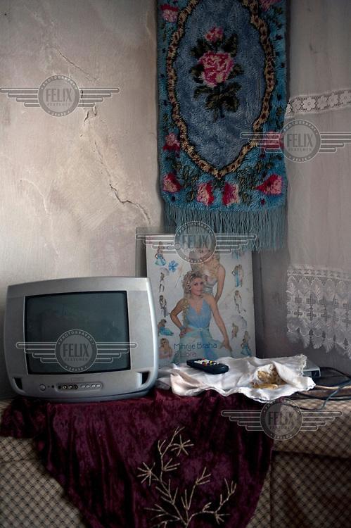 A television inside the house of Avni Tahiri.