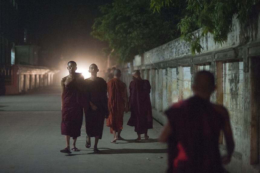 Monks near the Mae Soe Yein monastery in Mandalay where extremist Buddhist monk Ashin Wirathu resides.