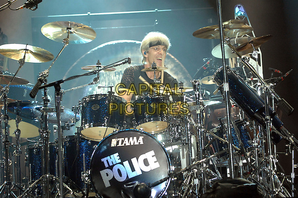 STEWART COPELAND  of THE POLICE.The Police'perform live at the 2007 Bonnaroo Music and Arts Festival,  Manchester, Tennessee, USA, .16 June 2007..half length band concert music gig on stage live performing drummer drums.CAP/ADM/MO.©Moose/AdMedia/Capital Pictures.
