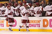 Viktor Dombrovskiy (Harvard - 27), Alexander Kerfoot (Harvard - 14) - The Harvard University Crimson defeated the Northeastern University Huskies 4-3 in the opening game of the 2017 Beanpot on Monday, February 6, 2017, at TD Garden in Boston, Massachusetts.
