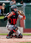3 September 2018: Tri-City ValleyCats catcher Oscar Campos in action against the Vermont Lake Monsters at Centennial Field in Burlington, Vermont. The Lake Monsters defeated the ValleyCats 9-6 in the last game of the 2018 NY Penn League regular season. Mandatory Credit: Ed Wolfstein Photo *** RAW (NEF) Image File Available ***